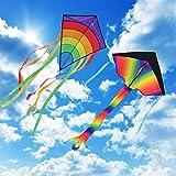 Gran Kite Cometa para Adultos 2 Packs, Homegoo Enorme Cometas de Diamantes de Colores y Gran Cometa Rainbow Delta para Adulto