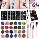 SunTop Glittertattooset, make-upset voor tijdelijke tattoo's met 24 grote potjes glitter, 120 sjablonen, 3 flesjes lijm en 5