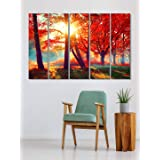 999Store house decorating things painting for living room with frame Red leaves tree forest wall art panels hanging painting