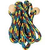 GICO Vliegtouw met houten ballen voor kinderen, kleurrijk touw, 500 cm houten handvat springtouw vliegtouw springtouw springt