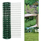 Simpa Multipurpose 1M x 10M - Green PVC Coated Galvanised Steel Wire Garden Fencing Roll – Mesh Hole Spacing 10.16cm x 5…