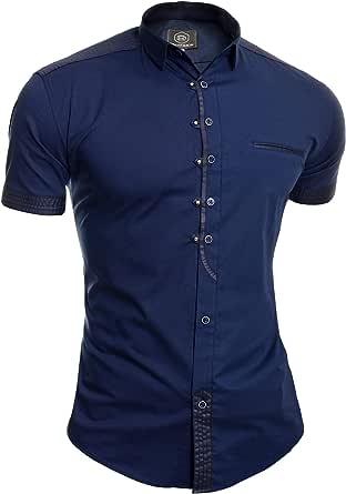 D&R Fashion Men's Casual Short Sleeve Shirt Classic Collar Metal Snaps Button Loops Cotton