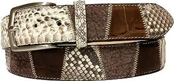 ESPERANTO Cintura Pitone, Coccodrillo e pelle bovina, fodera in Pelle Bovina naturale e Fibbia anallergica nichel free-unisex 4 cm
