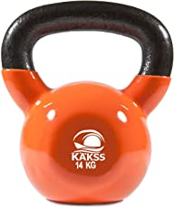 KAKSS Gymenist Kettlebell Fitness Iron Weights with Vinyl Coating Around The Bottom Half Metal 14 kg Kettle Bell (Made in India)