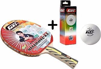 GKI Offensive XX Table Tennis Combo Set (GKI Offensive XX Table Tennis Racquet + GKI Premium 3 Star 40 Table Tennis Ball, Box of 3 - White)