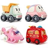ألعاب سيارات سحب الظهر من ناكريو للأطفال الصغار من عمر 2 3 سنوات، 4 قطع من المركبات التعليمية المبكرة للأطفال - هدايا حفلات أ