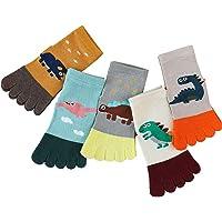 OhhGo 5 Pair Kids Toe Socks Cartoon Five Finger Cotton Socks Breathable Ankle Socks
