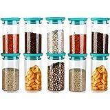 Machak Xcllent Container Set for Kitchen Airtight, Unbreakable, 1400ml |10 Pieces | (Green)