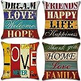 Gspirit Taie d'oreiller, Lot de 4 en Coton et Lin Rétro Style Housse De Coussin carré pour Lit Voiture De La Maison Canapé 45
