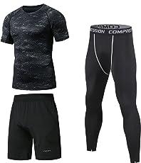 Niksa Sportbekleidung Herren Fitness Bekleidung Trainingsanzug 3pcs Set Fit elastische Sportwear Fitness Gym Yoga Kompressionsshirt Funktionsshirt Sporthose Leggings