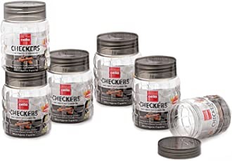 Cello Checkers Plastic PET Canister Set, 300ml, Set of 6, Clear
