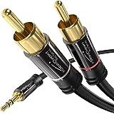 KabelDirekt – 2m Cable Jack 3,5mm a RCA (Coaxial Audio Estéreo, 1 Conector 3,5mm Jack Macho a 2 Conectores RCA Macho, para el