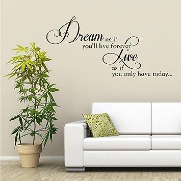 DREAM LIVE FOREVER Adesivo Artistico Da Parete Salotto Trasferello ...