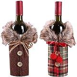LIZHIGE Copribottiglia di Vino Natalizio, 2pz Copertura della Bottiglia di Vino Natale Sacchetti Rosso per Bottiglie di Vino