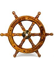 Nagina International Nautical Handcrafted Wooden Ship Wheel - Home Wall Decor, 12 Inches, Natural Wood