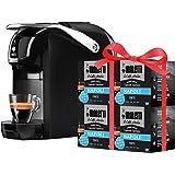 Bialetti Macchina Espresso Break (Super compatta) Alluminio Sistema caffè d'Italia, Black + 64 Capsule Omaggio, 1200 W, Nero