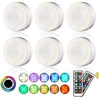 Lightess Lampe de Placard Lot de 6 RGB Éclairage Sous Meuble Cuisine Led Sans Fil Tactile et Télécommande 4/16 Couleurs…