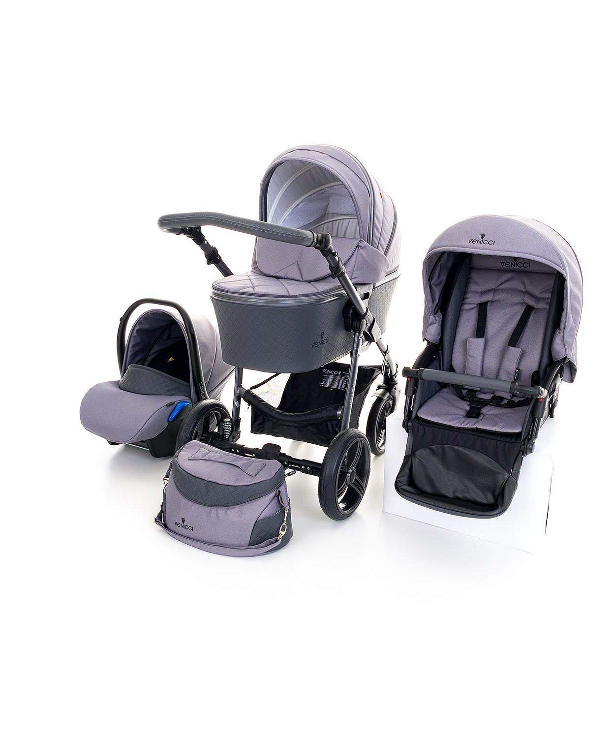 Venicci Carbo Lux 3-in-1 Travel System - Natural Grey - with Carrycot + Car Seat + Changing Bag + Apron + Raincover + Mosquito Net + 5-Point Harness and UV 50+ Fabric + Car Seat Adapters + Cup Holder Venicci 3 in 1 Travel System with included Group 0+ Car Seat 5-point harness to enhance the safety of your child Comfortable seat for baby with additional liners 1