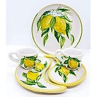 Set 1 Piatto da muro/Vassoio + 2 Piattini a Goccia + 2 Tazzine Linea Limoni Dipinto a mano Le Ceramiche del Castello…