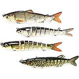 PushingBest Wobbler, Kunstköder Setzt Jerkbait mit 2 Drillingen Haken Fischköder für Zander Forelle