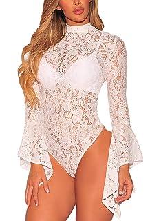Aranmei Femmes Bodysuit Jumpsuit Combinaisons Sexy Manches Longue  Transparent Bodycon Nuisette Bodys Party Justaucorps Corset Clubwear 8d22abf1e58