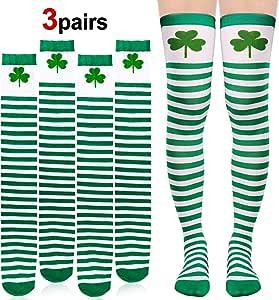 Au-dessus du genou Vert et Blanc St Patricks Day Shamrock Chaussettes à Rayures