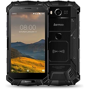 Smartphone Etanche, Aermoo M1 Dual SIM 4G Telephone Incassable IP68, 7.0 Android Téléphone Portable Debloqué, 5.2 FHD Helio P25 Octa-Core, 6G RAM+64G ROM 8.0MP + 21.0MP 5580mAh, GPS Smartphones -Noir