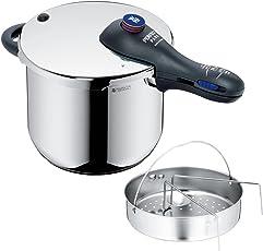 WMF Perfect Plus Schnellkochtopf 6,5l mit Einsatz, Cromargan Edelstahl poliert, 2 Kochstufen Einhand-Kochstufenregler, induktionsgeeignet, spülmaschinengeeignet, Ø 22 cm
