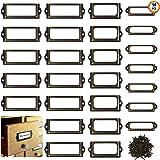 Metalen labelhouder 50 stuks meubels lade kast kaarthouder, antiek messing metalen bestand kast lade tag met schroeven voor H