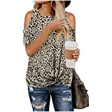DressU Women's Relaxed Leopard Cut out Shoulder Baggy Printing T Shirt Tunic Tops