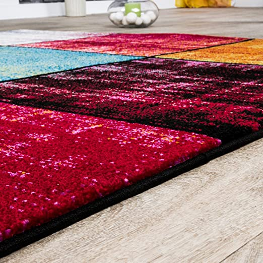 Teppich Karo Rot Schwarz Grau Grün Pink Meliert Modern Wohnzimmer ...