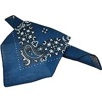 Navy Blue, White & Black Paisley Patterned Bandana Neckerchief