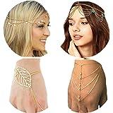 PPX 4 Pezzi Catenina per Capelli in Stile Bohémien, Decorato con strass donna nappa stile bracciale catena con anello per Don