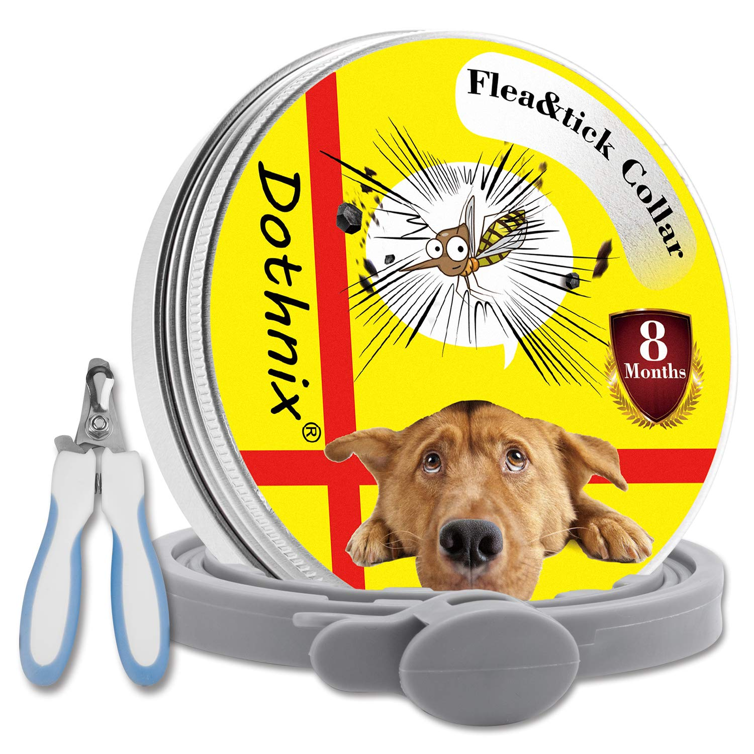 Dothnix Flea and Tick Collar for Dogs,Waterproof Adjustable Anti Flea Collar, with Nail Clippers Scissors for Pets(55cm)