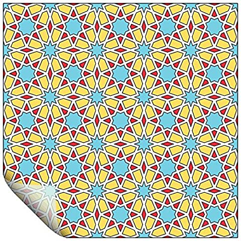 2 Vinyl Stained Glass Window Square Decal Stickers - Star/Flower Design Mosaic Decoration, For Any Room - 23cm / 9