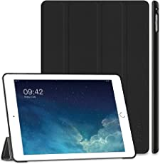 iPad Air 2 Hülle, EasyAcc Ultra Slim Cover Schutzhülle Bumper Lederhülle mit Standfunktion/Auto Sleep Wake Up Funktion für iPad Air 2 2014 Modell Number A1566/A1567 - Schwarz, Ultra Slim