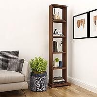 "A10SHOP A10 Wood Laminated Shop Alpha Lite Bookshelf and Display Cabinet with 5 Shelf (54"" High, Brown-Acacia Walnut)"
