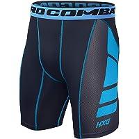 Hivexagon Pantaloncini a Compressione da Uomo a Mezza Coscia per Sport, Corsa e Allenamento Palestra SM008