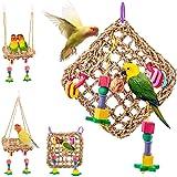 Juguete para Loros, Juguetes para Masticar Loros, Juguete de Loro para pájaros, Alfombra Tejida de Paja Natural Comestible 18