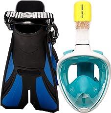 cozia design Schnorchelset mit Schnorchelmaske - Schwimmflossen inkludiert - Vollmaske fürs Schnorcheln für freies Atmen mit Meeresblick und Verstellbaren Flossen