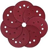Slijpschijf, 125 mm, 8 gaten, schuurpapier, verschillende korrelgroottes 40/80/120/240/320/600/800 (70 stuks).