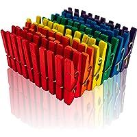Holz Wäscheklammern Lot de 200 pinces à linge en bois de bouleau Multicolore 25 mm, coloré