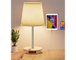 AISCOOL Bedside Table Lamp with Clock and Adjustable Stand, Stepless Dimmable LED Nightstand Lamp with USB Type C Ports,Desk