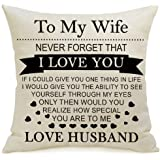 Valentine's Day Anniversary Birthday for Wife - Cotton Linen Pillow Case Without Insert Decorative Sofa Cushion Cover Square