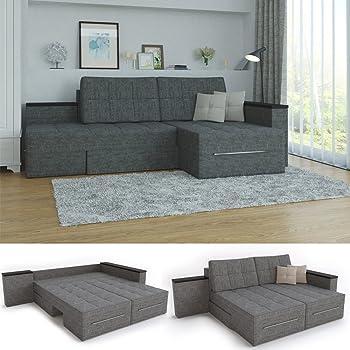Xxl Ecksofa Mit Schlaffunktion 260 X 160 Cm Grau Eckcouch Relax