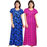 Trendy Fab Women's & Girl's Cotton Embellished Maxi Nighty (Pack of 2) (ComboNT_9653_Multicolored_Free Size)