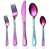 Homquen - Lot de 24 ou30couverts de table - Noir, argent, or rose, or, arc-en-ciel, Acier inoxydable, E-rainbow 30 Piece