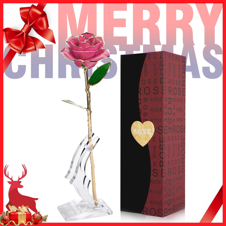 24k Rose Plaque Or Elegante Fleur Romantique Eternelle Avec Boite