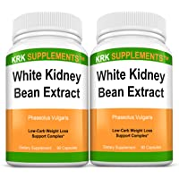 2 Bottles White Kidney Bean Extract 500mg 180 Total Capsules KRK Supplements