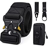 Men Tactical Belt, 1.5 Inch Military Style Heavy Duty Nylon Belts with Quick-Release Metal Buckle, Work Belt Gift with Tactic